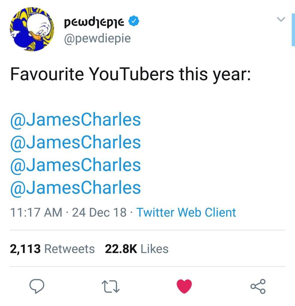 James charles twitter pewdiepie