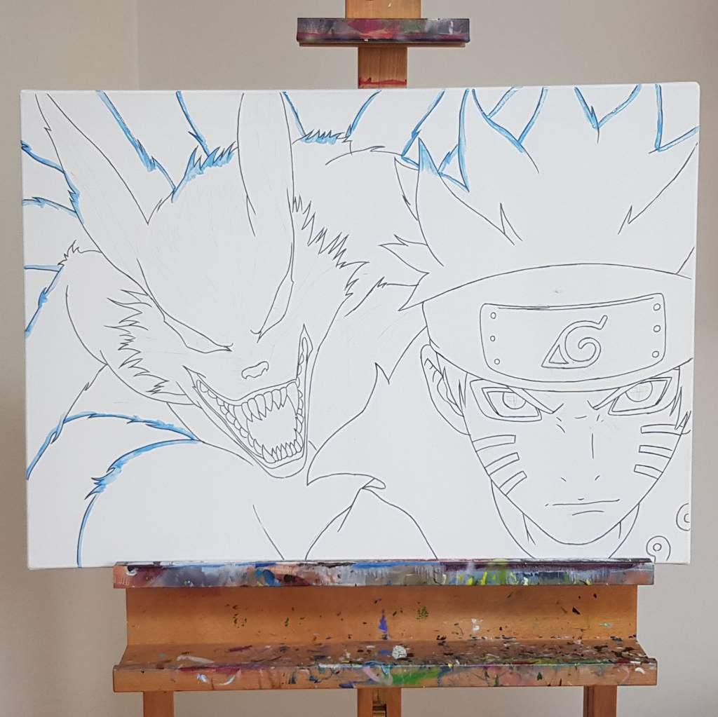 Kurama And Naruto Acrylic Painting Anime Art Amino