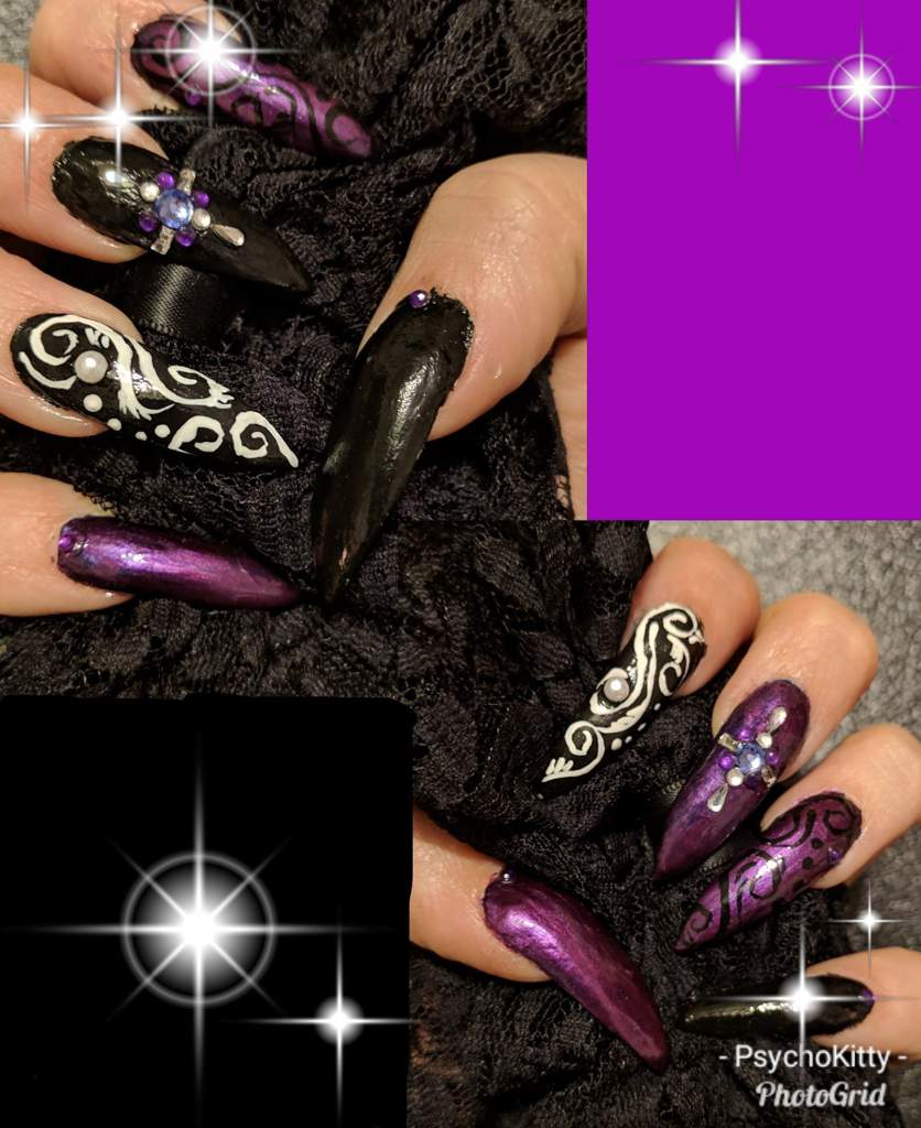 Purple And Black Nail Art Amino