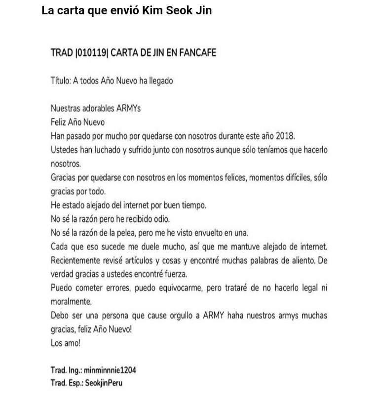 Desgarradora Carta De Jin Para Víspera De Año Nuevo Bts Latino Amino