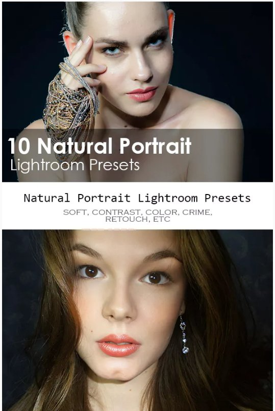 10 Natural Portrait Lightroom presets download free  zip for