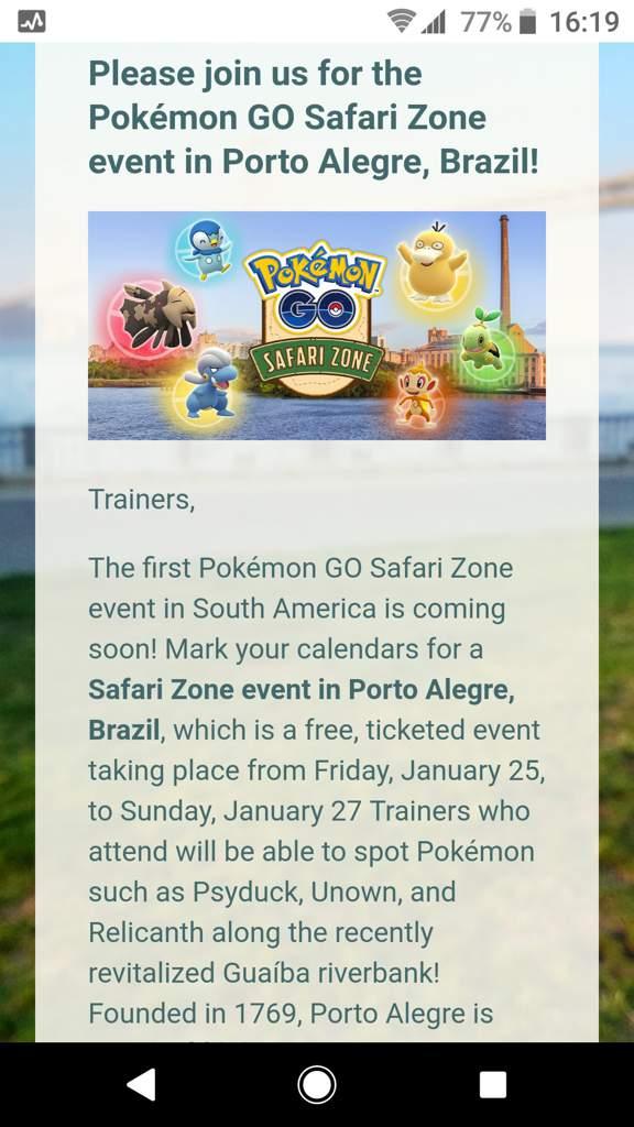 Please join us for the Pokémon GO Safari Zone event in Porto