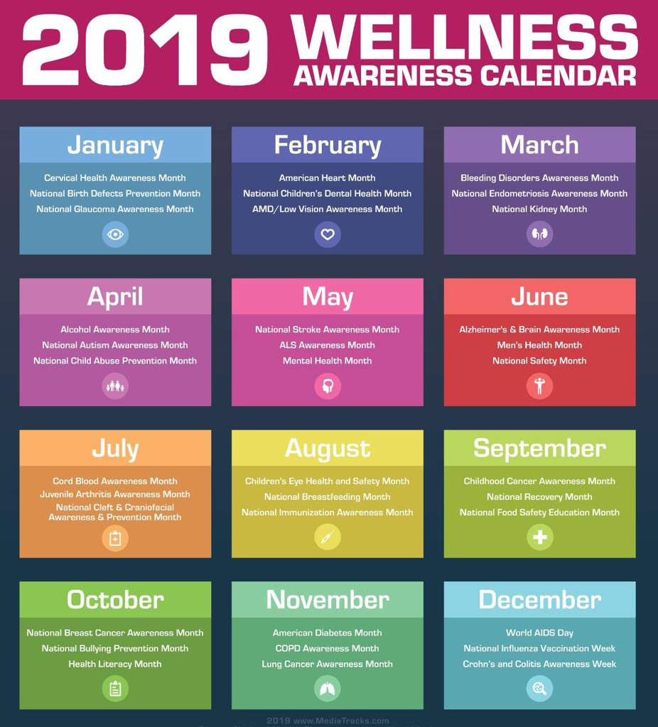 Health Awareness Calendar 2019 Health Awareness Months (BC+CT Event) | Be More Chill! Amino