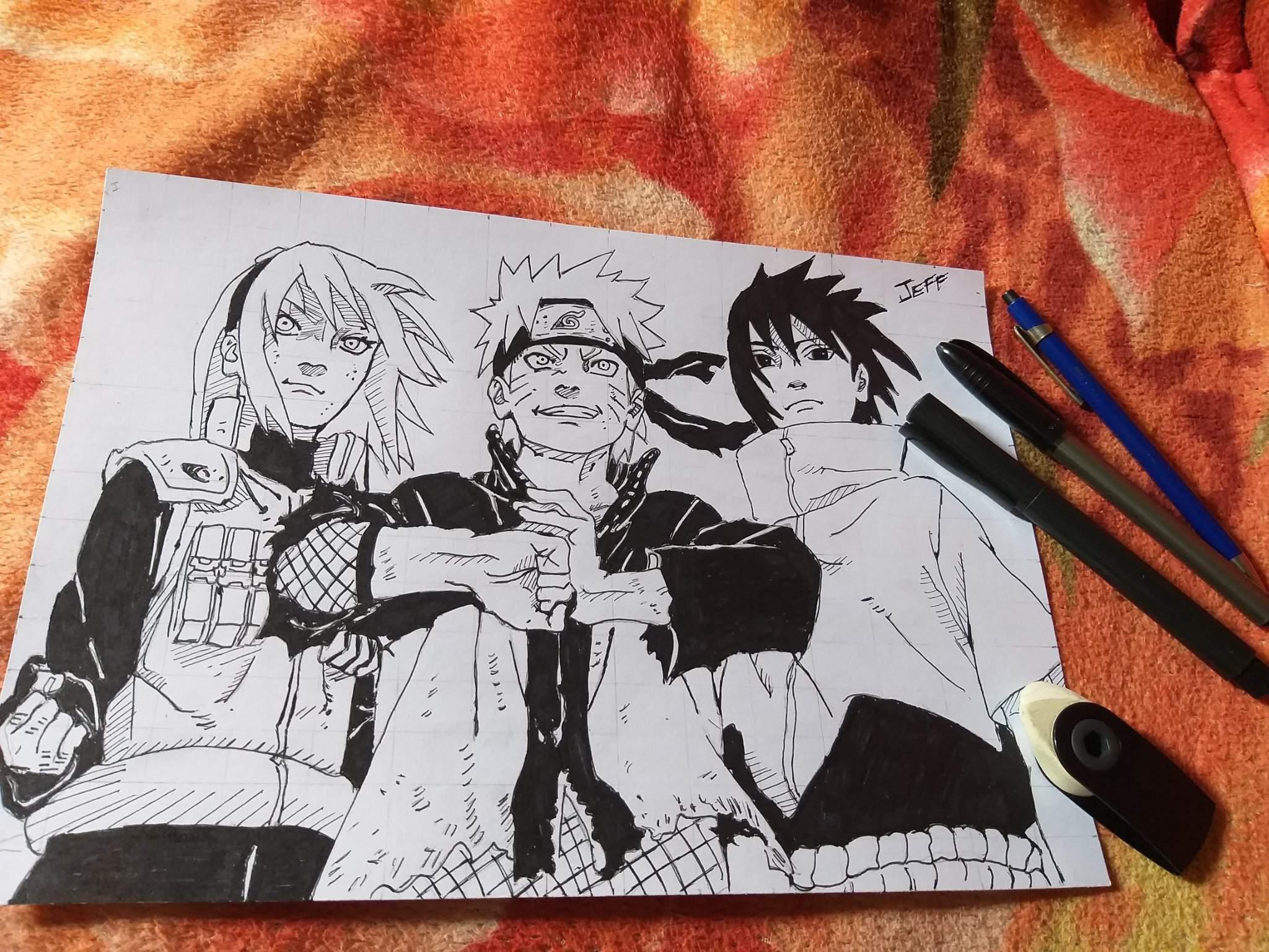 Primeiro Desenho Do Ano Naruto Sakura E Sasuke Uchiha
