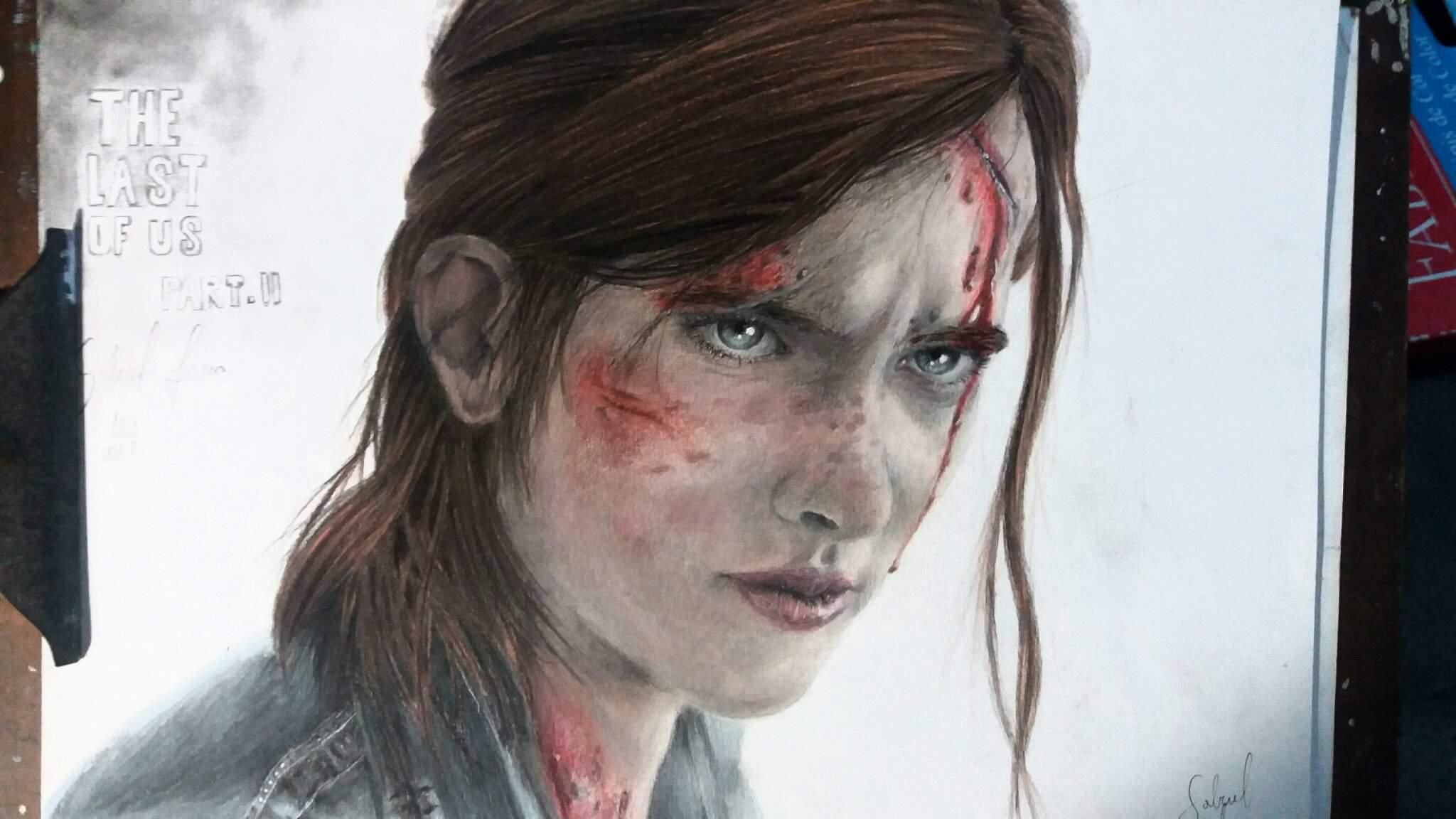 Desenho A Lapis De Cor Ellie Tlou 2 The Last Of Us Amino