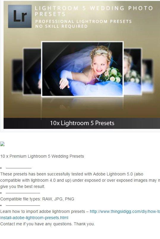 Lightroom 5 Wedding presets download free  zip for lightroom and
