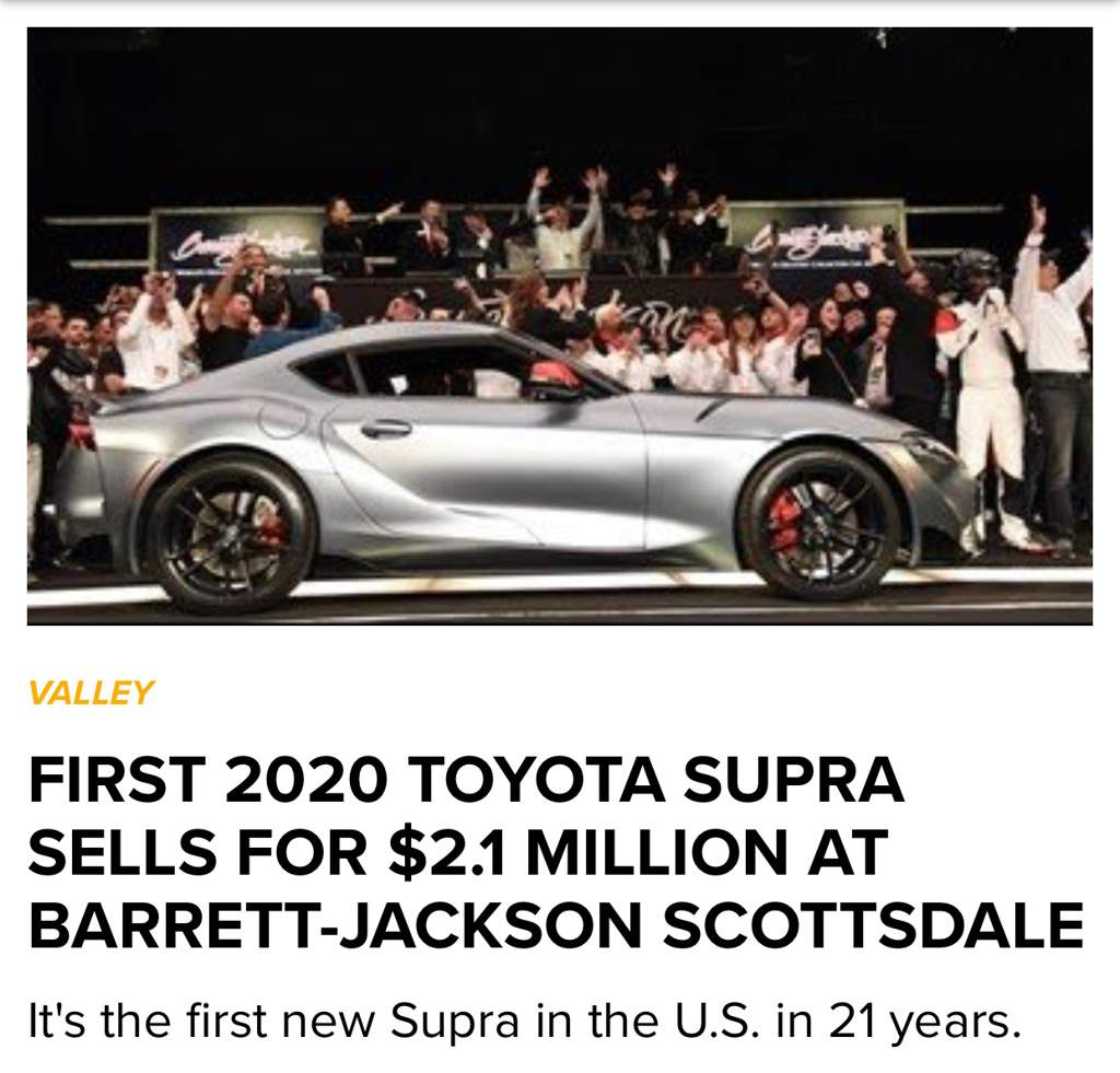07e0cad4db7 The first 2020 Toyota Supra sold at Barrett Jackson for 2.1 million USD.