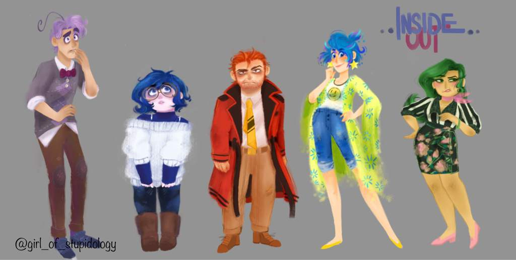 Humanized Inside Out Character Lineup Disney Amino