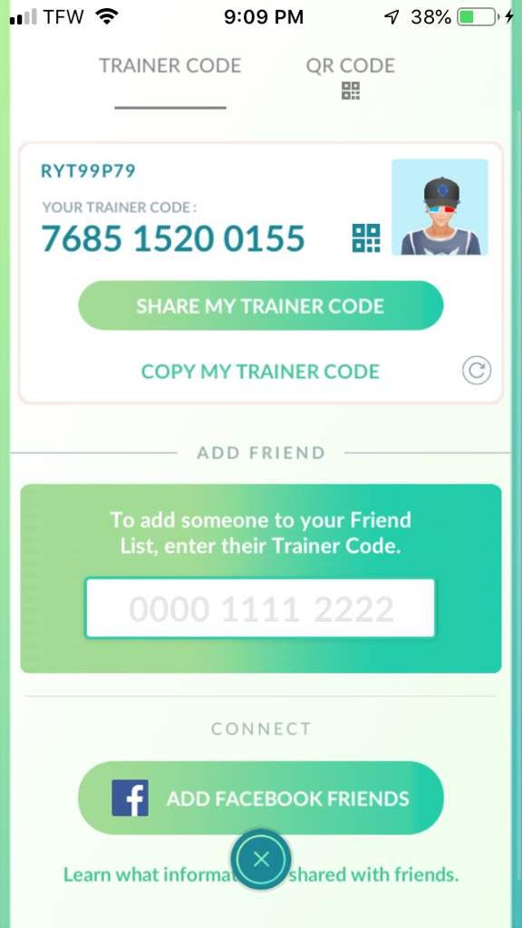 trainer code pokemon go