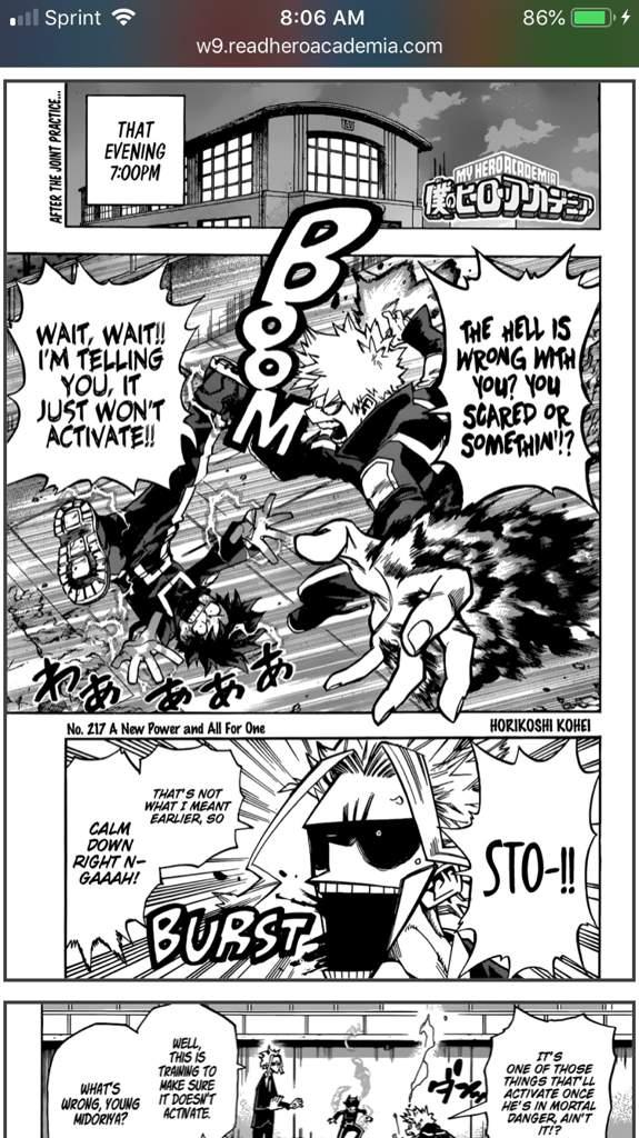 My hero academia manga 217
