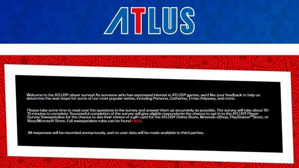 Atlus USA hosting a Player Survey for the futurer of Persona