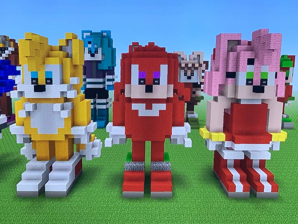 Tails, Knuckles, and Amy Minecraft Statues   Sonic the Hedgehog! Amino
