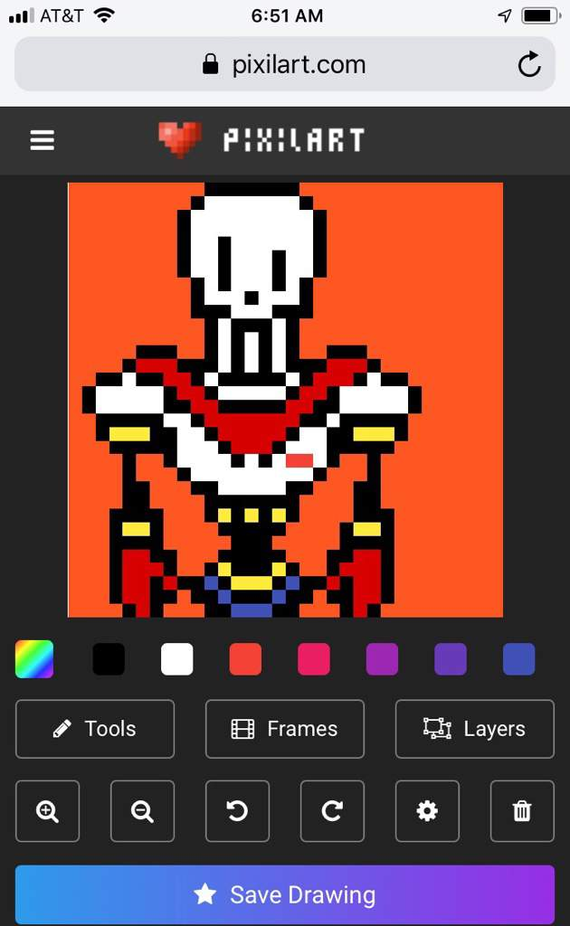 I made papyrus pixel art | Undertale Amino