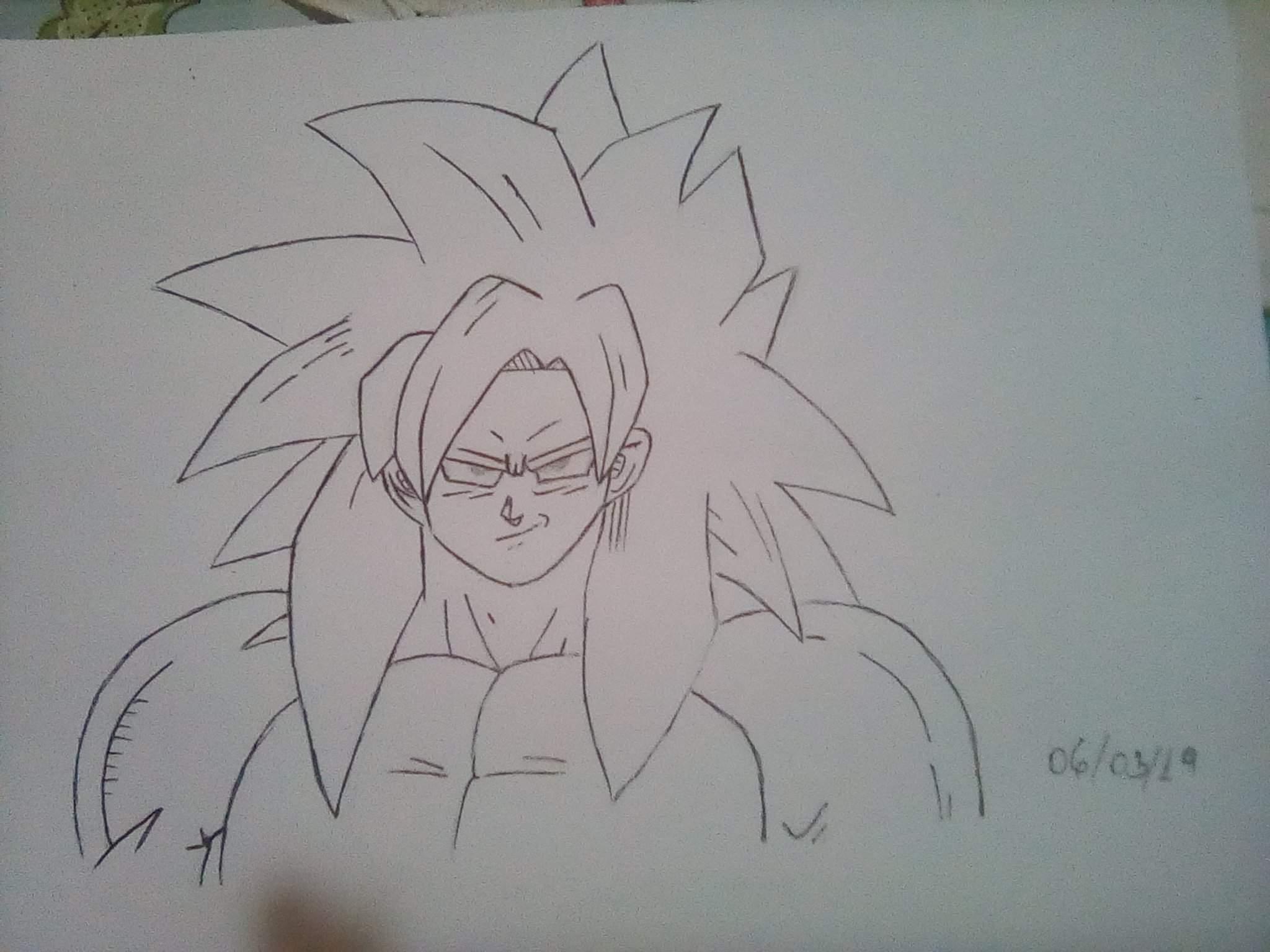 Desenho Goku Super Sayajin 4 E Desenho Sasuke Uchiha Em Andamento