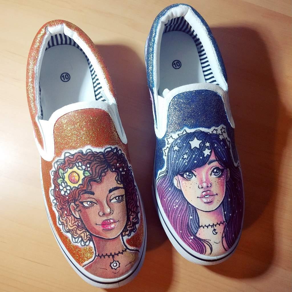 ☀️Day\u0026Night DIY Shoes🌙   Art Amino