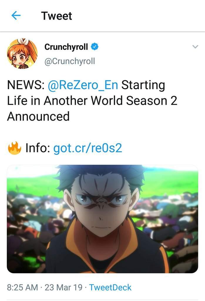 Re zero starting life in another world season 2
