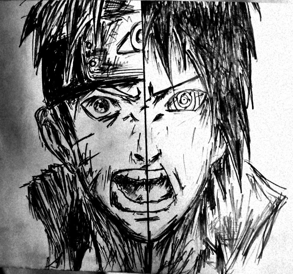 My pencil sketch on naruto and sasuke naruto amino
