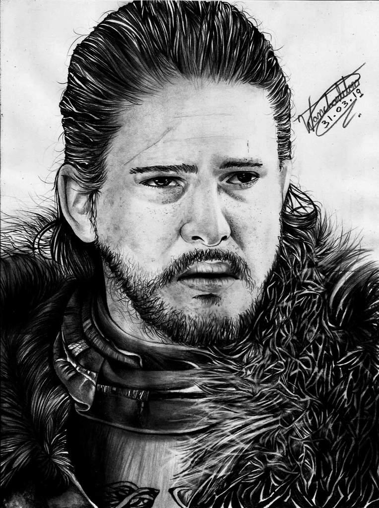 Retrato Realista Jon Snow Game Of Thrones Desenhistas Do