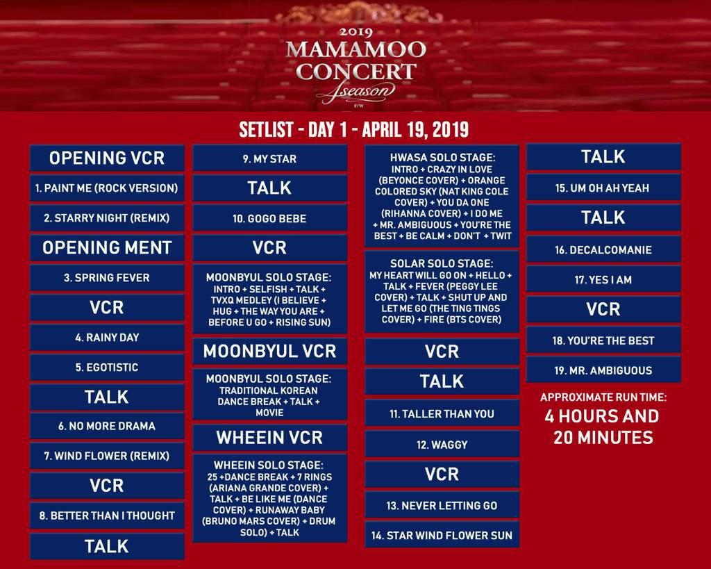 190419 4season F W Concert Day 1 Setlist Translations Mamamoo Amino