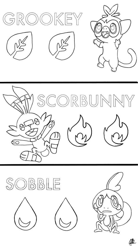 Gen 8 Starters Coloring Page Pokemon Amino