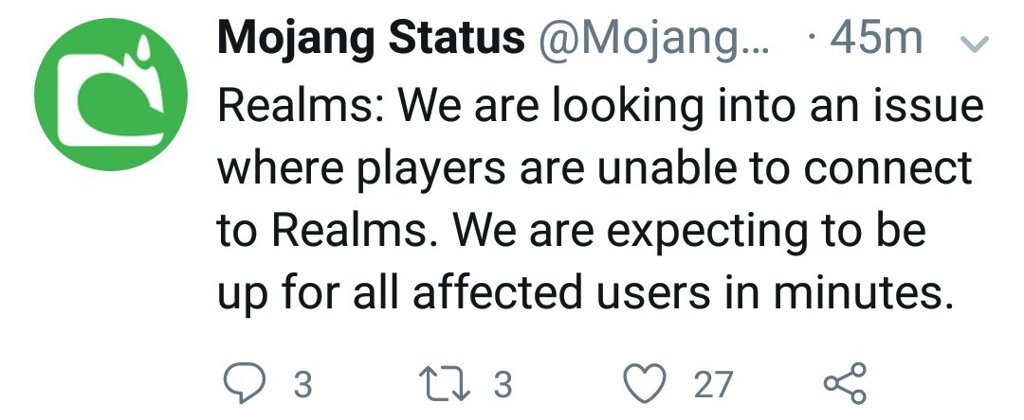 Speed News: Mojang Status Announces Players Not Connecting to Realms