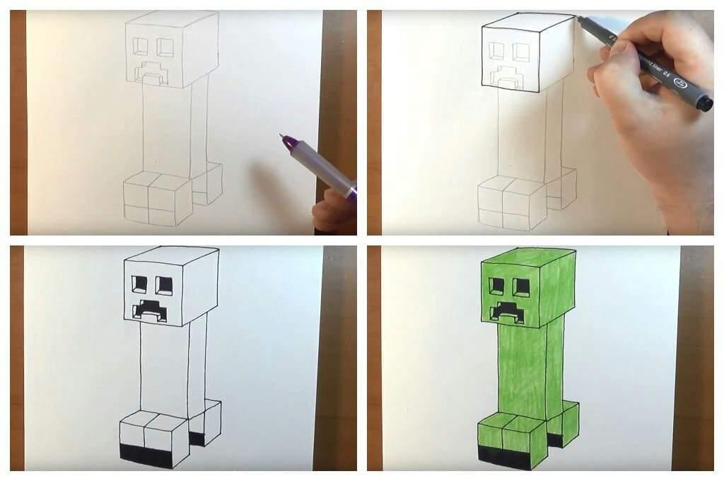 Як намалювати майнкрафт крипер