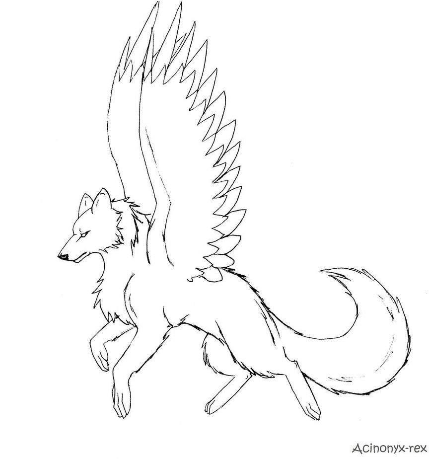 Картинки как нарисовать волка с крыльями