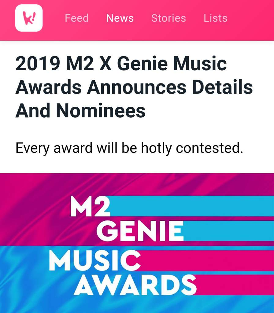 2019 M2 X Genie Music Awards Announces Details And Nominees