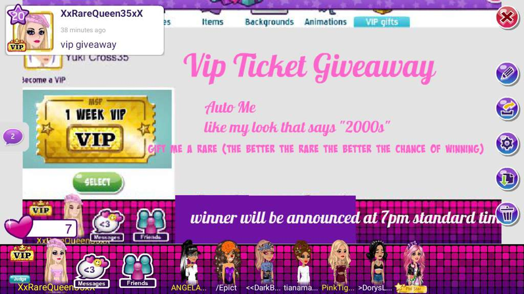 VIP Ticket Giveaway And dpack Giveaway | MoviestarPlanet