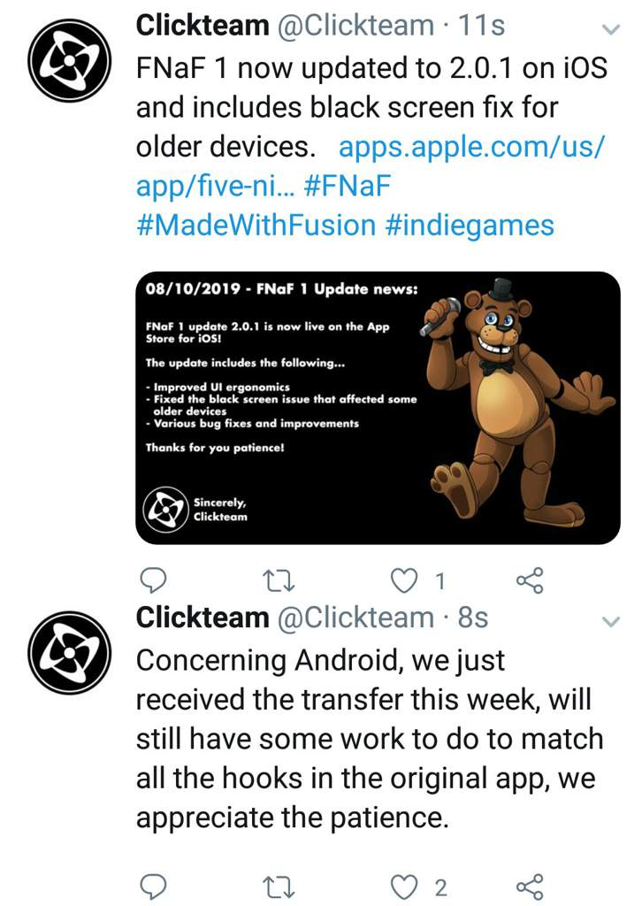 New 2 0 1 Update For FNAF 1 iOS Out Now & FNAF 1 Remaster