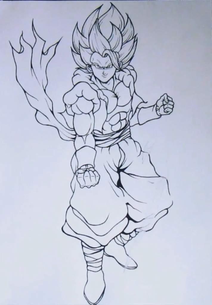 Dibujo épico De Gogeta Ssj Dios Azul Dragon Ball