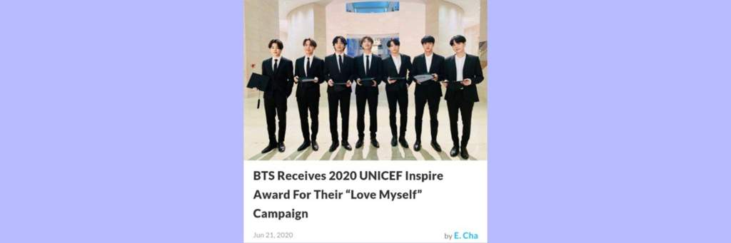 News Bts Receives 2020 Unicef Inspire Award For Their Love Myself Campaign Army S Amino